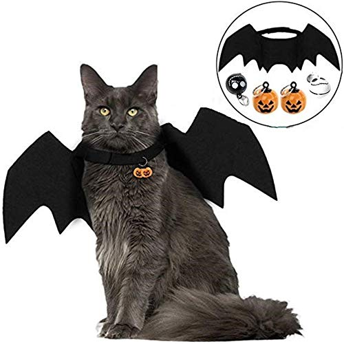 F&W Cat Dog Costume Halloween pet Bat Wings Costumes with Two Pumpkin Bell and Tow Replace Skull Bell for pet Cosplay Costumes ()