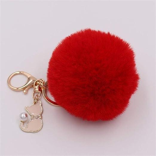 LMYXY - Llavero con pompón, diseño de pompón, Color Rosa ...