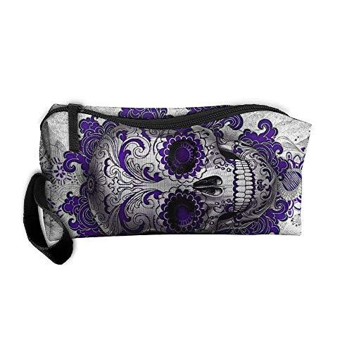kjaoi Cosmetic Bag Purple Flower Skull Brush Pouch Makeup Bag Zipper Wallet Hangbag Carry Case Pen Organizer Wristlet Holder ()