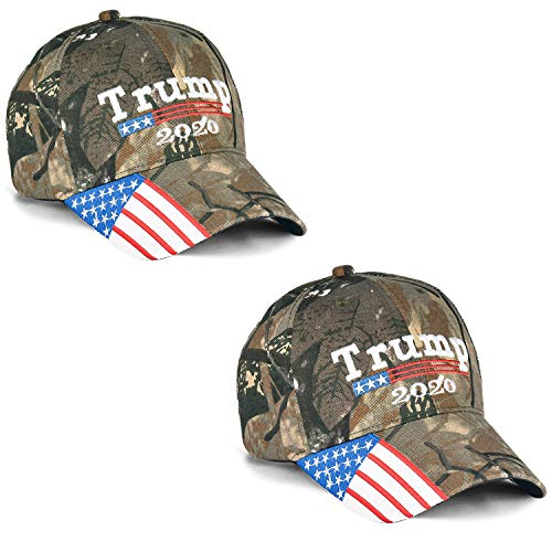 Make America Great Again Hat [2 Packs], Keep America Great Hat, Donald Trump 2020 USA MAGA Cap Adjustable Baseball Hat (J-Camouflage&Camouflage)