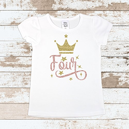 Olive Loves Apple Girls 4th Birthday Shirt Four Crown Princess Glitter Gold 4th Birthday Outfit by Olive Loves Apple (Image #1)