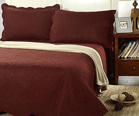 Tache Home Fashion BJU018-Cal King 3 Piece Solid Autumn Burgundy Maroon Marsala Bedspread Quilt Set, California King China