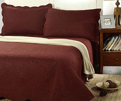 (Tache 3 Piece Solid Ultrasonic Marsala Maroon Burgundy Matelasse Autumn Thin Lightweight Bedspread Quilt Coverlet Set,)