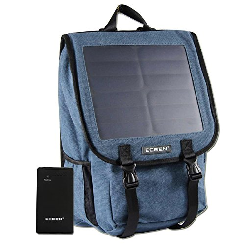 ECEEN Canvans Backpack with 10W Solar Phone Charger and 10000mAh Power Battery Pack For Smart Cell Phones, Tablets, Digital Cameras,GPS etc. 5V Device. (Blue)