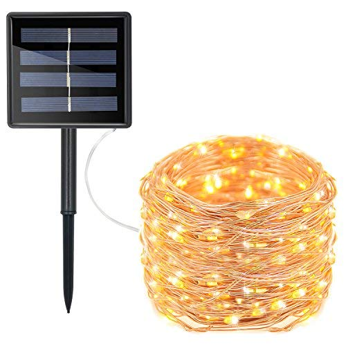 Prefer Green Solar Powered String Lights, 200 LED Copper Wire Lights, 72ft 8 Modes Starry Lights, Waterproof IP65 Fairy Christmas Decorative Lights for Outdoor, Wedding, Homes, Party (Warm White)