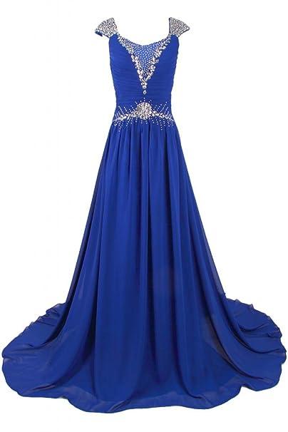 Sunvary Formal gasa Bateau brillantes madre de caída de novia vestidos noche fiesta vestidos Azul azul
