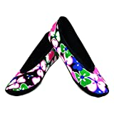 NuFoot Ballet Flats Women's Shoes, Best Foldable & Flexible Flats, Slipper Socks, Travel Slippers & Exercise Shoes, Dance Shoes, Yoga Socks, House Shoes, Indoor Slippers, Black Flowers, X-Large