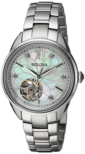 Bulova Women's Automatic Stainless Steel Casual Watch, Color:Silver-Toned (Model: 96P181) (Mother Of Pearl Womans Watch)