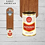 Natty Boh Wall Mounted Bottle Opener with Vintage National Bohemian 9oz Beer Can Cap Catcher For Sale