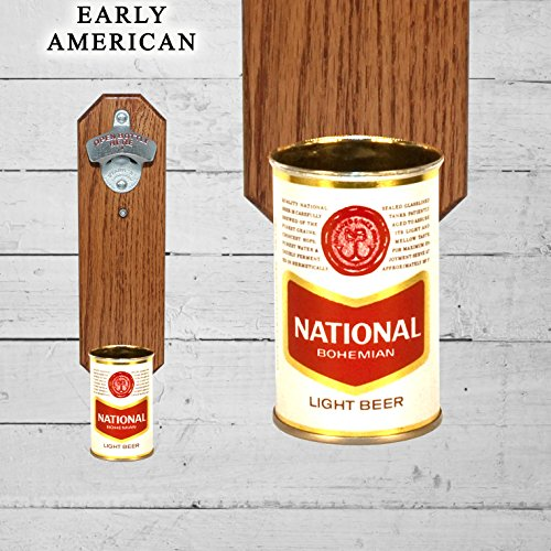 Natty Boh Wall Mounted Bottle Opener with Vintage National Bohemian 9oz Beer Can Cap Catcher