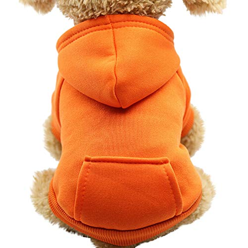 Pet Clothes for Dogs Coat Jackets Cotton Dog Clothes Puppy Pet Overalls for Cat Clothing,Orange,XS