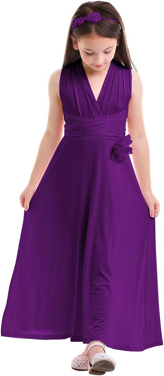 IMEKIS Kid Girl Convertible Wrap Multi Way Wedding Bridesmaid Dress Evening Gown