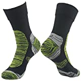 RANDY SUN Men's Comfortable Warm and Dry Crew Waterproof Socks Black&Grass Green Large