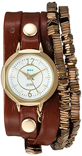 Collection Brown Leather Watch (La Mer Collections Women's Quartz Gold-Tone and Leather Watch, Color:Brown (Model: LMDEL1010))