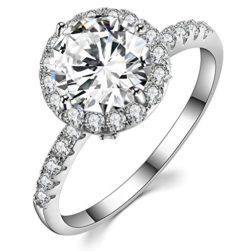 Caperci Sterling Silver Round Solitaire 2 Ct Cubic Zirconia Halo Engagement Ring for Women Size 8