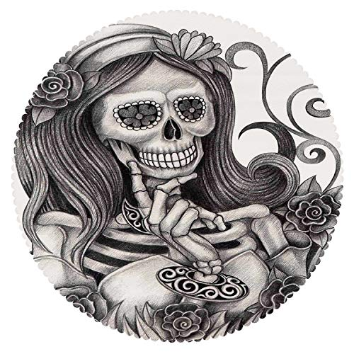 (iPrint Anti-Bacterial Round Tablecloth [ Skull,Sexy Skull Girl with Floral Veil Ceremony Day of The Dead Bride Skeleton Lady Art,Grey White ] Home)