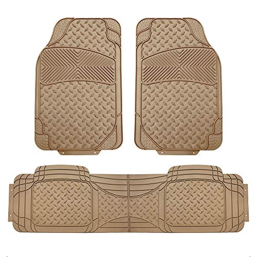 FH Group F11307 Semi Custom Trimmable Heavy Duty Rubber Floor Mats Front & Rear - Beige 3pc Set-Fit Most Car, Truck, SUV, or Van