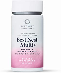 Best Nest Women's Multi+, Without Iron and Iodine, Methylfolate, Vegan Multivitamins, Natural Whole Food Organic Blend, Once Daily Multivitamin, Immune Support, 30 Ct, Best Nest Wellness