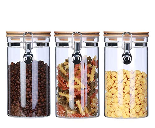 Borosilicate Glass Storage Jars Canisters With Airtight Locking Clamp Bamboo Lids,Air Tight Food Storage Containers For Kitchen ,Coffee Beans Loose Tea Sugar Jar ,40Floz 3-Piece Set