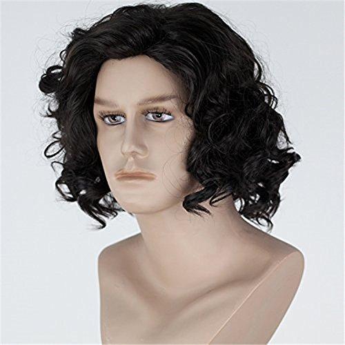 thatsyou Cosplay peluca una canción de hielo y fuego de Juego de Tronos Jon nieve cosplay peluca negro peluca de Halloween Carnaval para hombre Masquerade ...