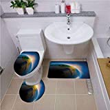 Bath mat set Round-Shaped Toilet Mat Area Rug Toilet Lid Covers 3PCS,World,Early Morning in South America Continent Rising Sun Days Cycle Theme Decorative,Blue Green Earth Yellow Bath mat set Round-Sh