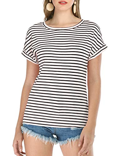 - Haola Women's Striped Tops Summer Casual Round Neck Short Sleeve Blouse T-Shirt Black Stripe 3XL