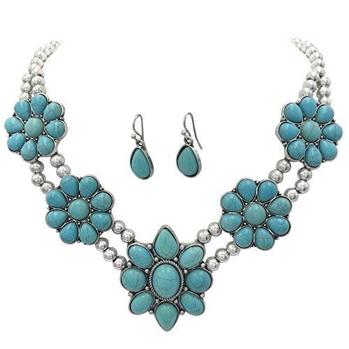 Western Jewelry Necklace Bracelet - Simulated Turquoise Silver Tone Western Southwestern Look Necklace & Dangle Earring Set (5 Flower)