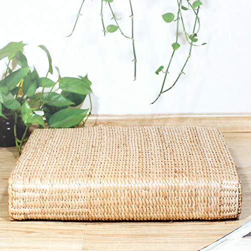 Eshow Japanese Tatami Cushion Floor Pillow Zafu Natural Seat Furniture Meditation Furniture Floor Mat Cushion Multi-Functional Handmade Breathable Square,Beige