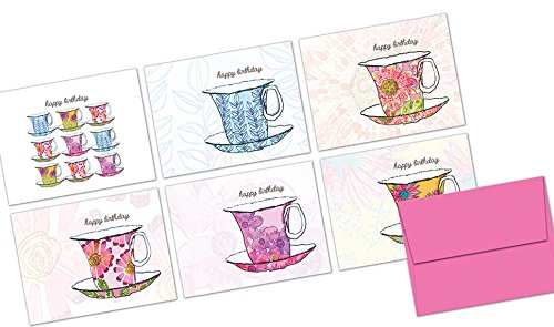 (72 Note Cards - Watercolor Teacups - Blank Cards - Pink Envelopes Included)