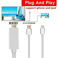HDMI Cable for iphone ipad to TV iphone ipad Adapter Cable 6.4Ft Lightning MHL to HDMI Cable 1080P HDTV Adapter for ipad iPhone 5 6 6S 6Plus 6splus 7 plus (Silver)
