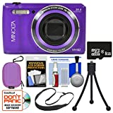 Minolta MN12Z OIS 12x Zoom Wi-Fi Digital Camera (Purple) with 8GB Card + Case + Flex Tripod + Sling Strap + Kit