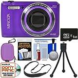Minolta MN12Z OIS 12x Zoom Wi-Fi Digital Camera (Purple) 8GB Card + Case + Flex Tripod + Sling Strap + Kit