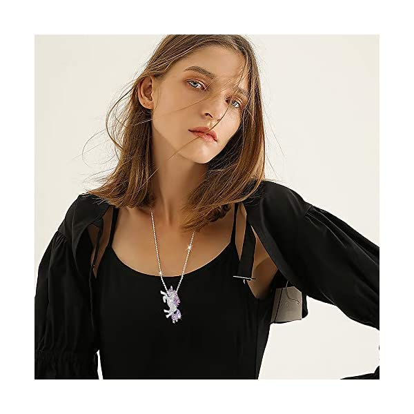Gleamart Unicorn Necklace Rainbow Rhinestone Crystal Necklace for Women 8