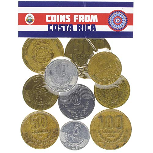 Coins from Republic of Costa Rica in Central America. Old Collectible Coins Costa Rican colón
