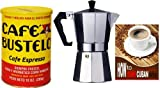 Bustelo Cuban Coffee 10 oz can and 3 Cup Coffee Maker Style