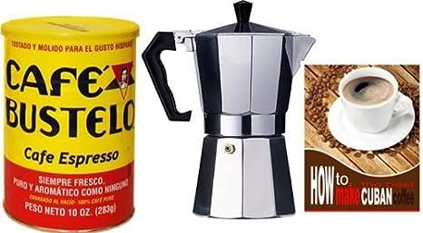 Amazon.com: bustelo Cuban Coffee 10 oz Can y 3 Copa Cafetera ...