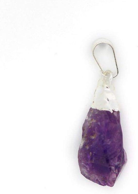 Colgante de Amatista en Bruto con Baño de Plata Minerales y Cristales, Belleza energética, Meditacion, Amuletos Espirituales