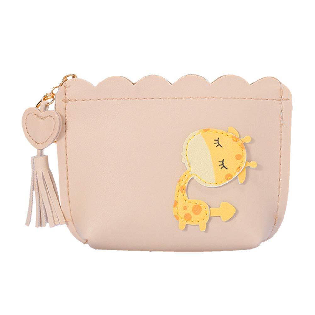 9.5 Wicemoon Women Coin Purse Cartoon Giraffes Pattern Clutch Bag Pu Leather Wallet Bag Apricot 13.5 3.5cm