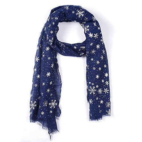 Dream Room Women Silver Snowflake Scarf Autumn Winter Shawl Wraps Neck Super Soft Warmer Snood (Navy)