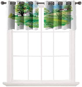 Pastoral 2 pcs 52x18 Short Curtains Blackout Valance,Pastoral Countryside View with Houses on Valley Lily Lands Up Back to The Nature Thermal Insulated Light Reducing Drapes for Half Window,Multicolo