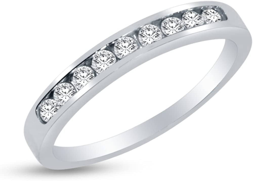 Solid 14k White Gold 3mm Round Cut Channel Set Anniversary Ring Wedding Band CZ Cubic Zirconia 1/2 cttw.