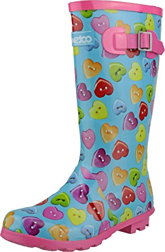 Cotswold pour enfants filles bouton de coffre Cœur Bottes en caoutchouc supérieur sur chaussures antidérapant