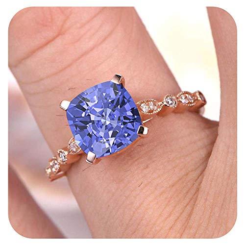 Dabangjewels 7mm Cushion Cut Created Tanzanite & White Diamond 14k Rose Gold 925 Sterling Silver Art Deco Wedding Engagement Ring for Women's