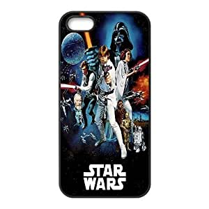 Durable Hard cover Customized TPU case Star Wars Darth Vader Luke Skywalker Han Solo Leia Chewbacca Colorful Sci Fi Poster Blockbuster iPhone 5 5s Cell Phone Case Black