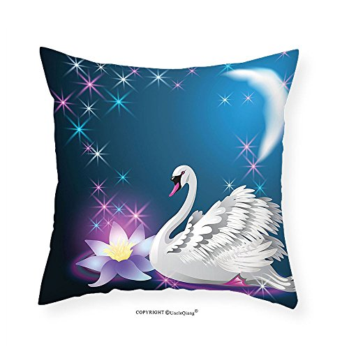 Lily Rose Night Table (VROSELV Custom Cotton Linen Pillowcase Animal Decor Magic Lily and Fairy Swan at Night Swimming in the Lake under Moon and Stars Picture Art Bedroom Living Room Dorm Decor Blue White 12