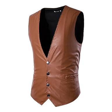 f41fd0bf261f Hibote PU Gilets en Cuir pour Hommes Slim Fit PU en Cuir Femme Costume Gilet  Casual