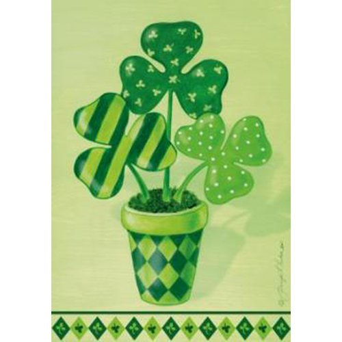 Toland Home Garden  Pot O' Shamrocks 28 x 40-Inch Decorative USA-Produced House Flag