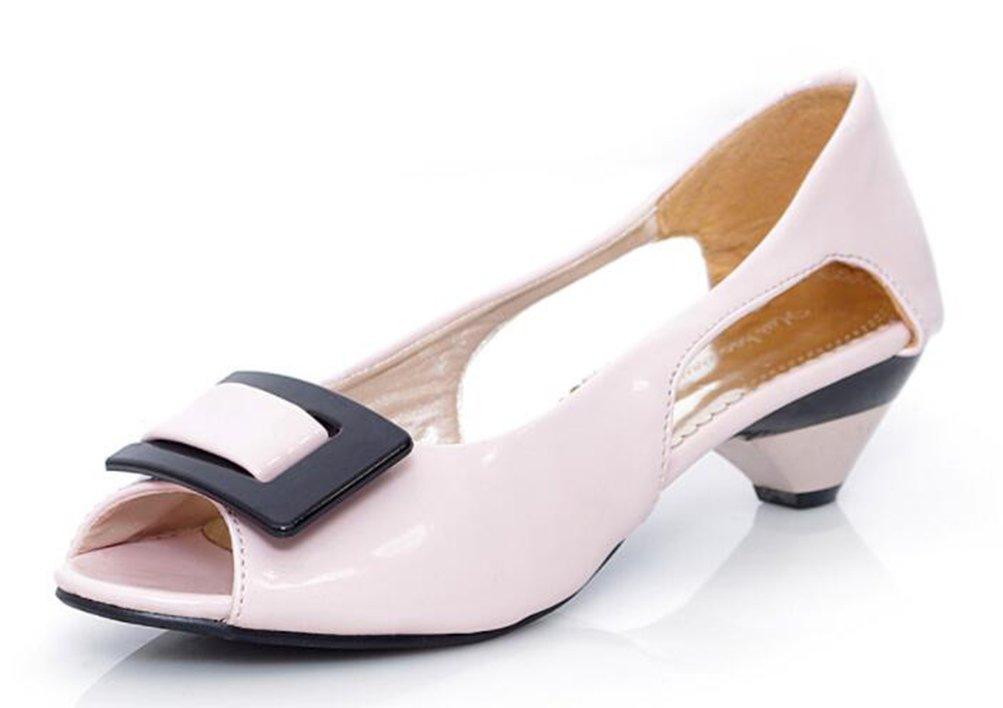 Damen Elegant Peep Toe Slipper ohne Verschluss Chunky Heels Sandalen Gelb 41 EU Easemax RBhv6GG