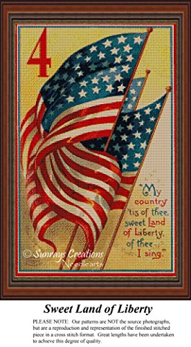 Sweet Land of Liberty, Vintage Cross Stitch Pattern (Pattern Only, You Provide the Floss and Fabric)