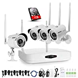 Annke 720p HD 4-Channel Wireless Security Camera System with Night Vision 1TB HDD and (4) 1.0 Megapixel Wifi IP Cameras Motion Detetion and Remote Playback